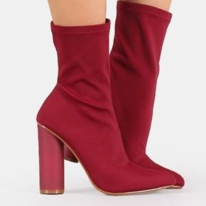 Shoes - Lycra Deep Red Pointy Toe Ankle Boots NIB